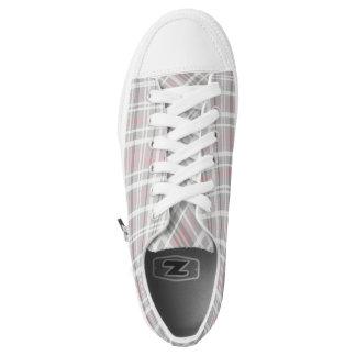 gray pink white plaid printed shoes