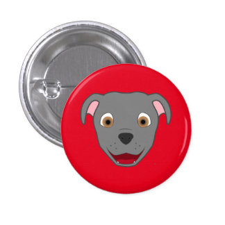 Gray Pitbull Face 3 Cm Round Badge