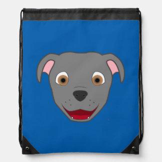 Gray Pitbull Face Drawstring Bag