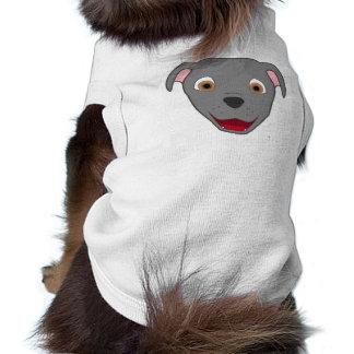Gray Pitbull Face Sleeveless Dog Shirt