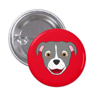 Gray Pitbull Face with White Blaze 3 Cm Round Badge