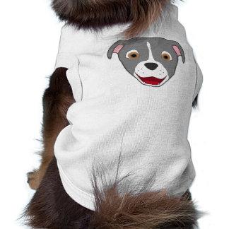 Gray Pitbull Face with White Blaze Sleeveless Dog Shirt
