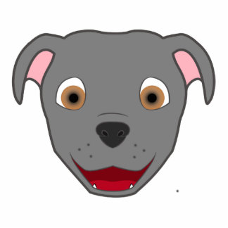 Gray Pitbull Photo Sculpture Badge