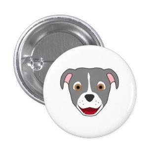 Gray Pitbull with Blaze 3 Cm Round Badge