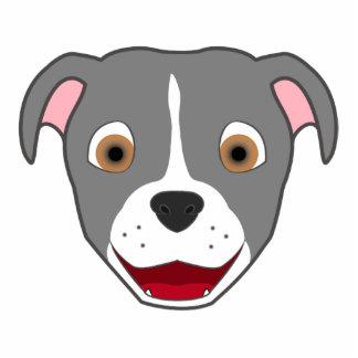 Gray Pitbull with Blaze Photo Sculpture Badge