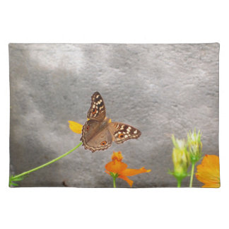 Gray Placemat with Brown Butterfly