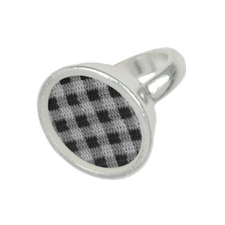Gray Plaid Crochet Print Sterling Silver Plated