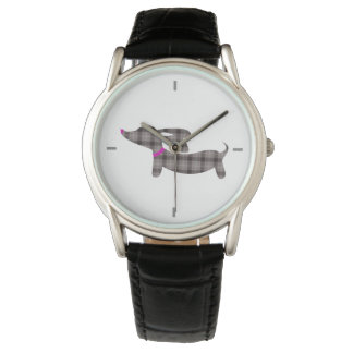 Gray Plaid Dachshund Leather Band Watch