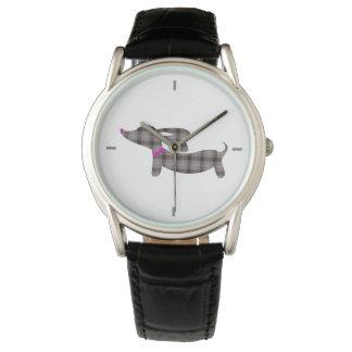 Gray Plaid Dachshund Leather Band Watch