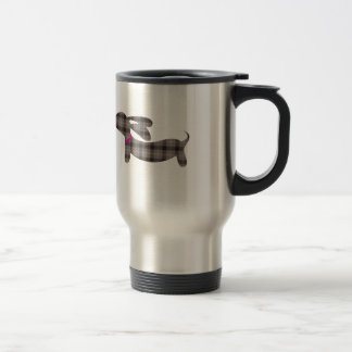 Gray Plaid Dachshund | Travel Coffee Mug