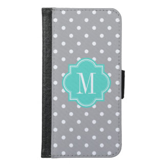 Gray Polka Dot with Turquoise Monogram Samsung Galaxy S6 Wallet Case