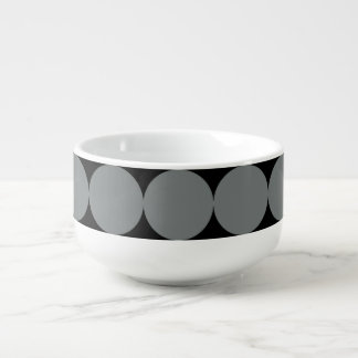 Gray Polka Dots On Black Retro Pattern Soup Mug