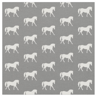 Gray Pony Fabric, Horse Fabric, Farm Animal Fabric
