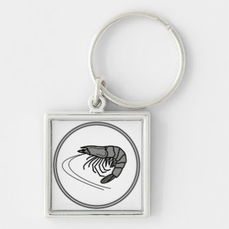 Gray Prawn - Fish Prawn Crab Collection Silver-Colored Square Key Ring