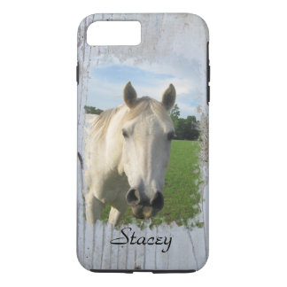Gray Quarter Horse on Whitewashed Board Blank iPhone 7 Plus Case