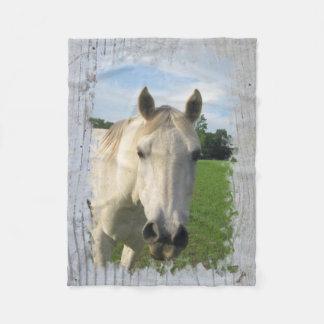 Gray Quarter Horse on Whitewashed Board Fleece Blanket