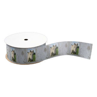 Gray Quarter Horse on Whitewashed Board Grosgrain Ribbon