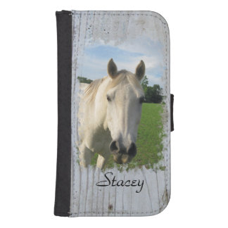Gray Quarter Horse on Whitewashed Board Samsung S4 Wallet Case