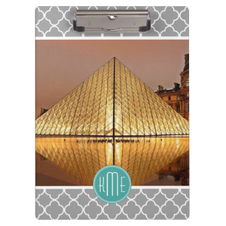 Gray Quatrefoil Mint Monogram Showcase Your Photo Clipboard