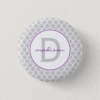 Gray Quatrefoil Monogram 3 Cm Round Badge