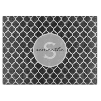 Gray Quatrefoil Monogram Cutting Board