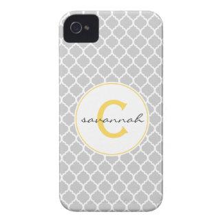 Gray Quatrefoil Monogram iPhone 4 Case