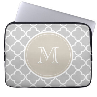 Gray Quatrefoil Pattern, Beige Monogram Laptop Sleeve