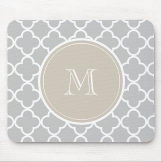 Gray Quatrefoil Pattern, Beige Monogram Mouse Mat