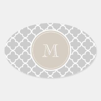 Gray Quatrefoil Pattern, Beige Monogram Oval Sticker