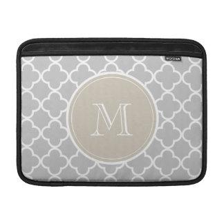 Gray Quatrefoil Pattern, Beige Monogram Sleeve For MacBook Air
