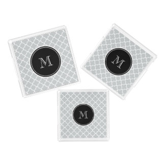 Gray Quatrefoil Pattern, Black Monogram Acrylic Tray