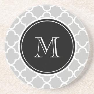 Gray Quatrefoil Pattern, Black Monogram Coaster