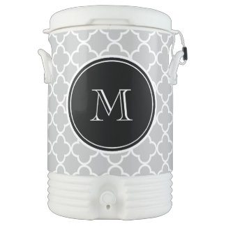 Gray Quatrefoil Pattern, Black Monogram Drinks Cooler
