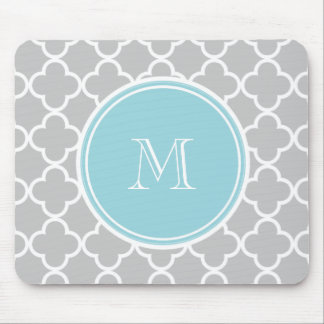 Gray Quatrefoil Pattern, Blue Monogram Mouse Mat