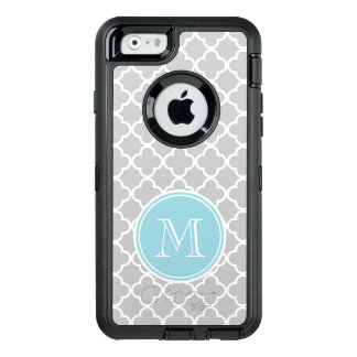 Gray Quatrefoil Pattern, Blue Monogram OtterBox Defender iPhone Case