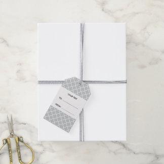 Gray Quatrefoil Pattern, Charcoal Monogram Gift Tags