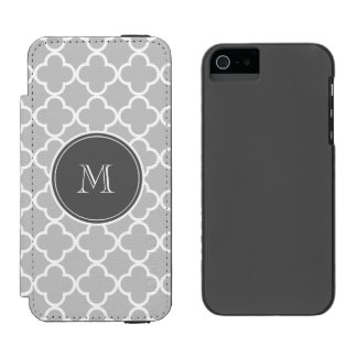 Gray Quatrefoil Pattern, Charcoal Monogram Incipio Watson™ iPhone 5 Wallet Case