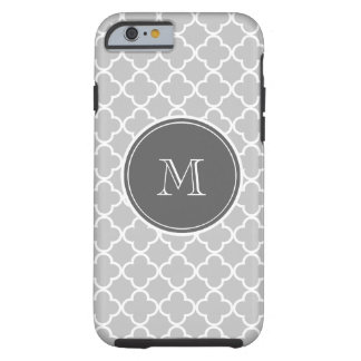 Gray Quatrefoil Pattern, Charcoal Monogram Tough iPhone 6 Case