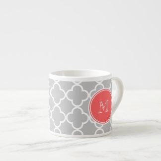 Gray Quatrefoil Pattern, Coral Monogram Espresso Cup