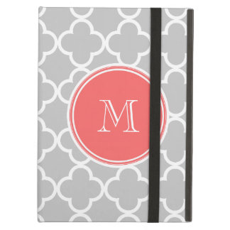 Gray Quatrefoil Pattern, Coral Monogram iPad Air Case