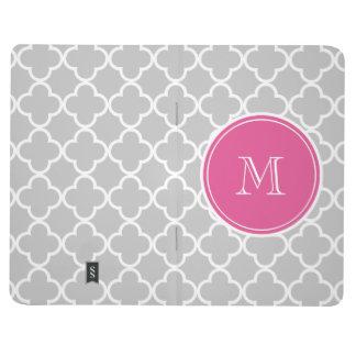 Gray Quatrefoil Pattern, Hot Pink Monogram Journal