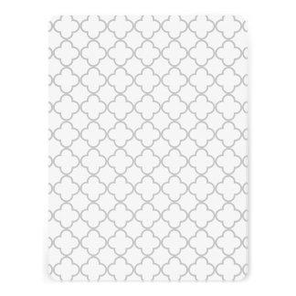 Gray Quatrefoil Pattern Personalized Invite