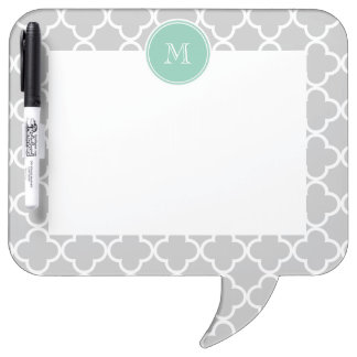 Gray Quatrefoil Pattern, Mint Green Monogram Dry Erase Board