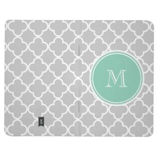 Gray Quatrefoil Pattern, Mint Green Monogram Journal