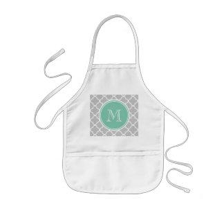 Gray Quatrefoil Pattern, Mint Green Monogram Kids Apron