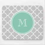 Gray Quatrefoil Pattern, Mint Green Monogram Mousepad