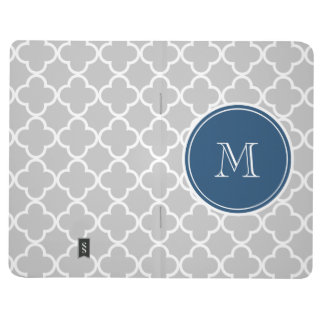 Gray Quatrefoil Pattern, Navy Blue Monogram Journal
