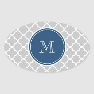 Gray Quatrefoil Pattern, Navy Blue Monogram Oval Stickers