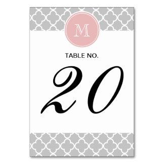 Gray Quatrefoil Pattern, Pink Monogram Card