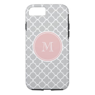 Gray Quatrefoil Pattern, Pink Monogram iPhone 7 Case